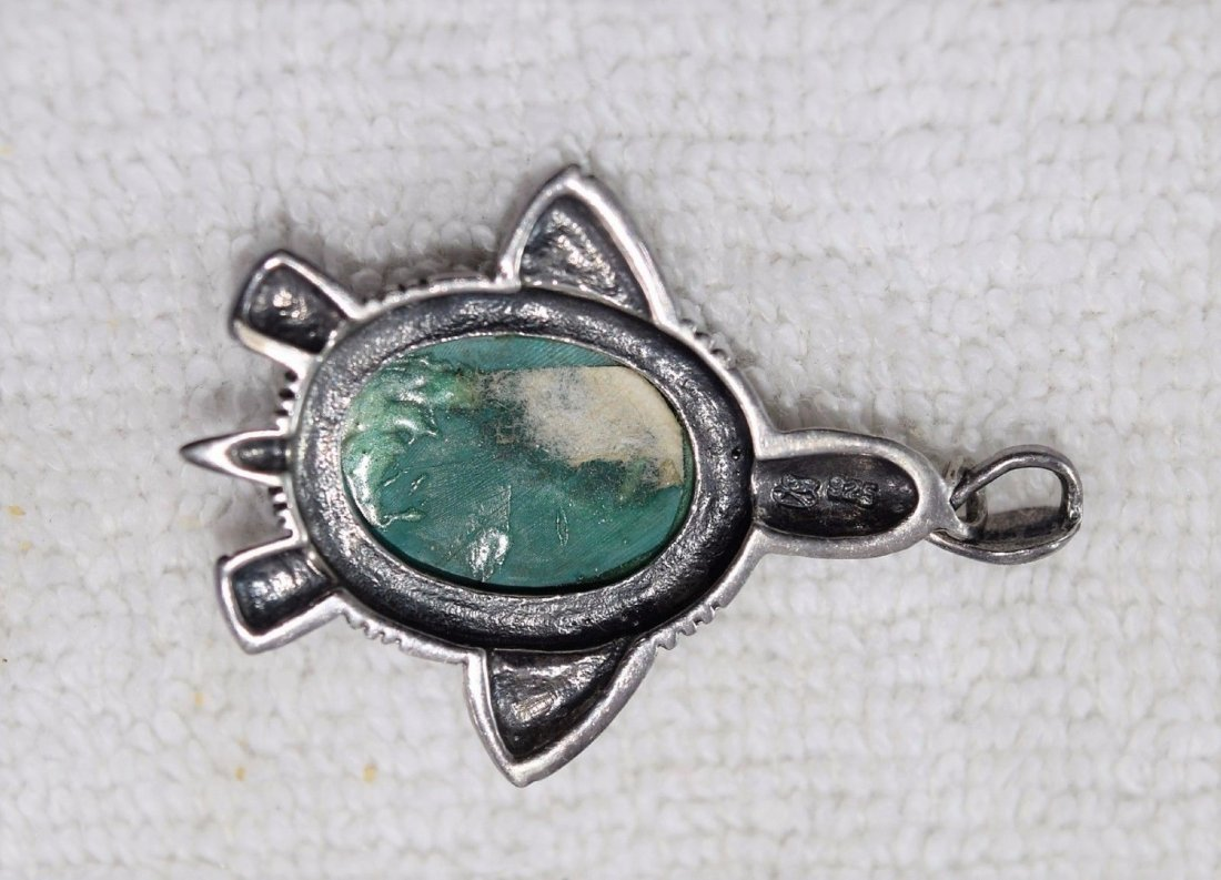 Native American Signed Sterling Silver Turtle Pendant - 2