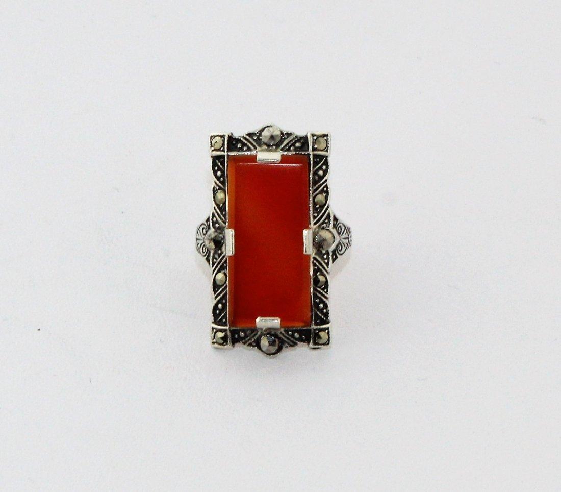1920's Art Deco Sterling Marcasite Carnelian Ring