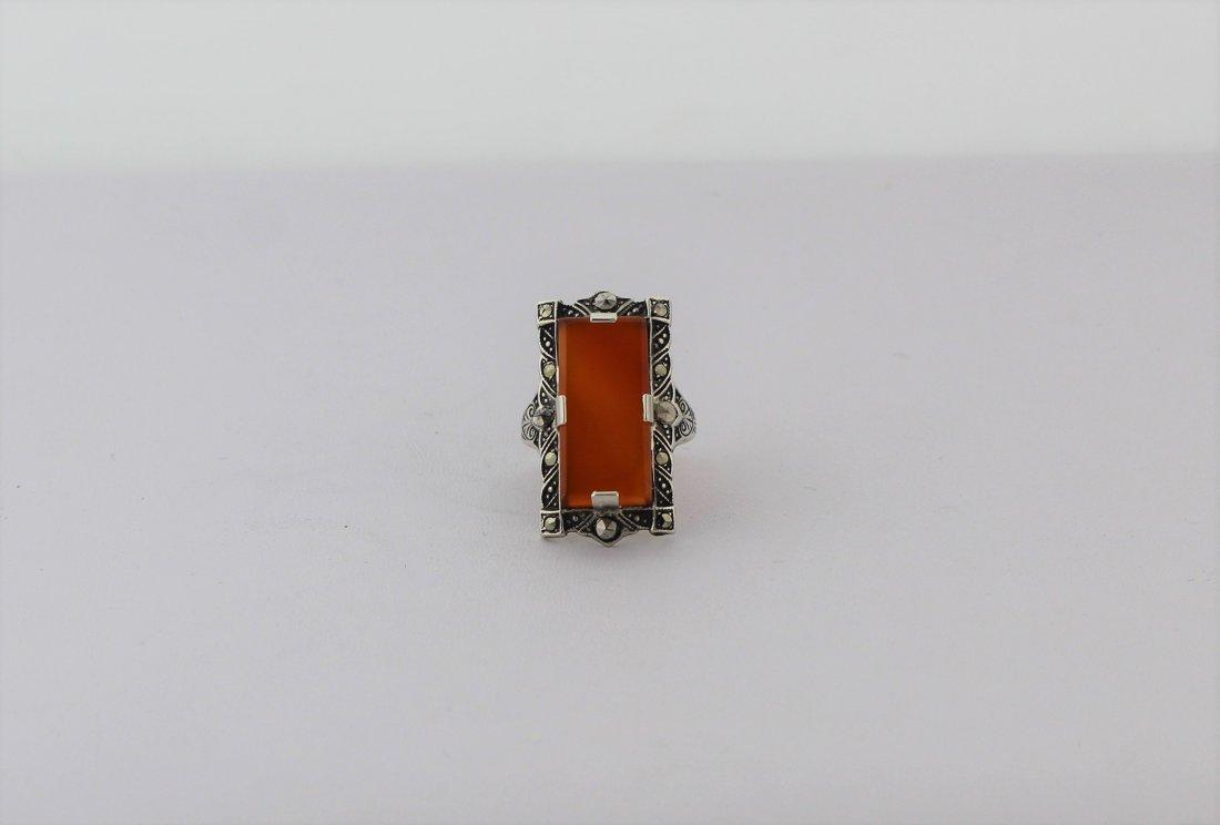 1920's Art Deco Sterling Marcasite Carnelian Ring - 2