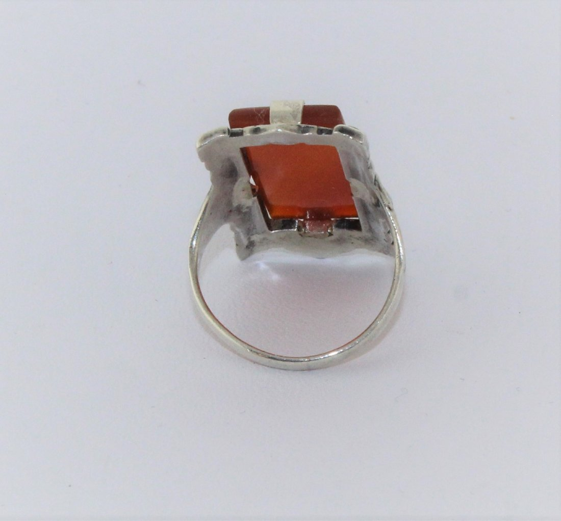 1920's Art Deco Sterling Marcasite Carnelian Ring - 4