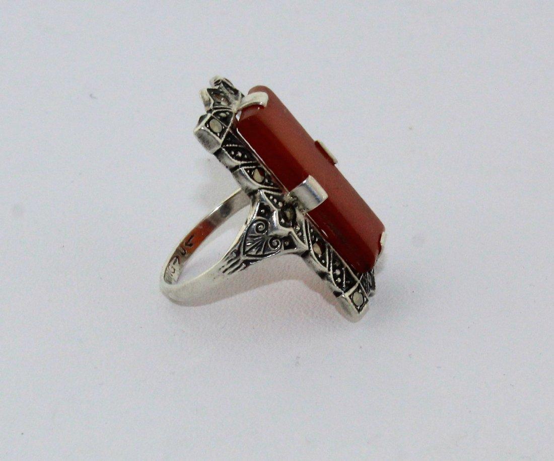 1920's Art Deco Sterling Marcasite Carnelian Ring - 5