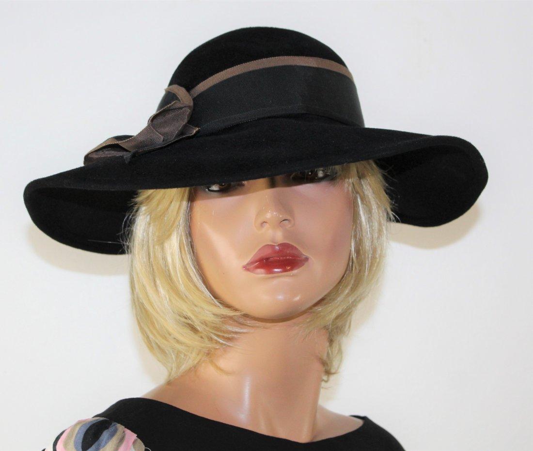 Vintage Adolfo  Black Wool floppy Wide Brim Hat Size M