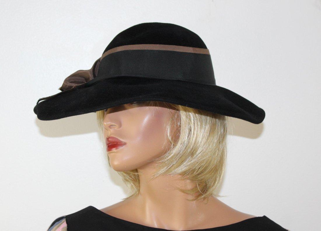 Vintage Adolfo  Black Wool floppy Wide Brim Hat Size M - 2