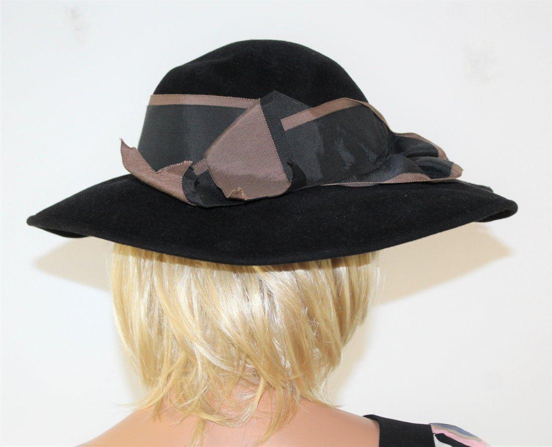 Vintage Adolfo  Black Wool floppy Wide Brim Hat Size M - 3