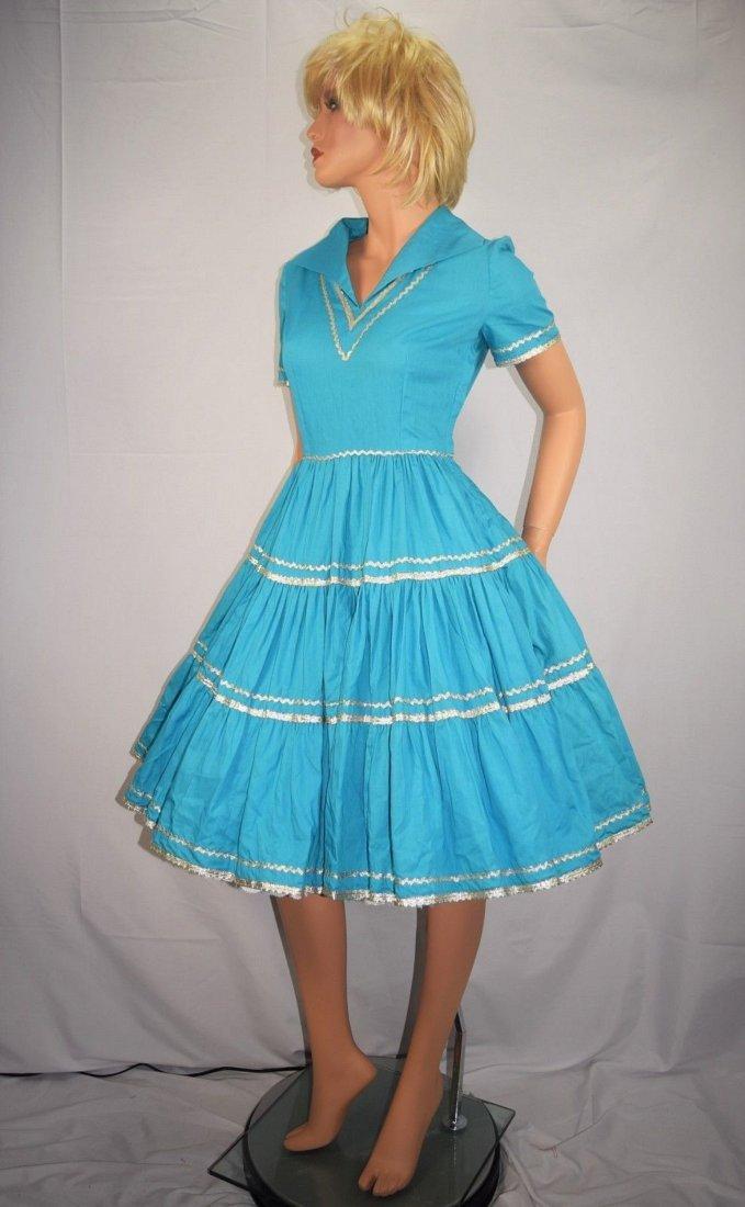 Vintage 50's Blue Rockabilly Fiesta Patio Squaw Dress