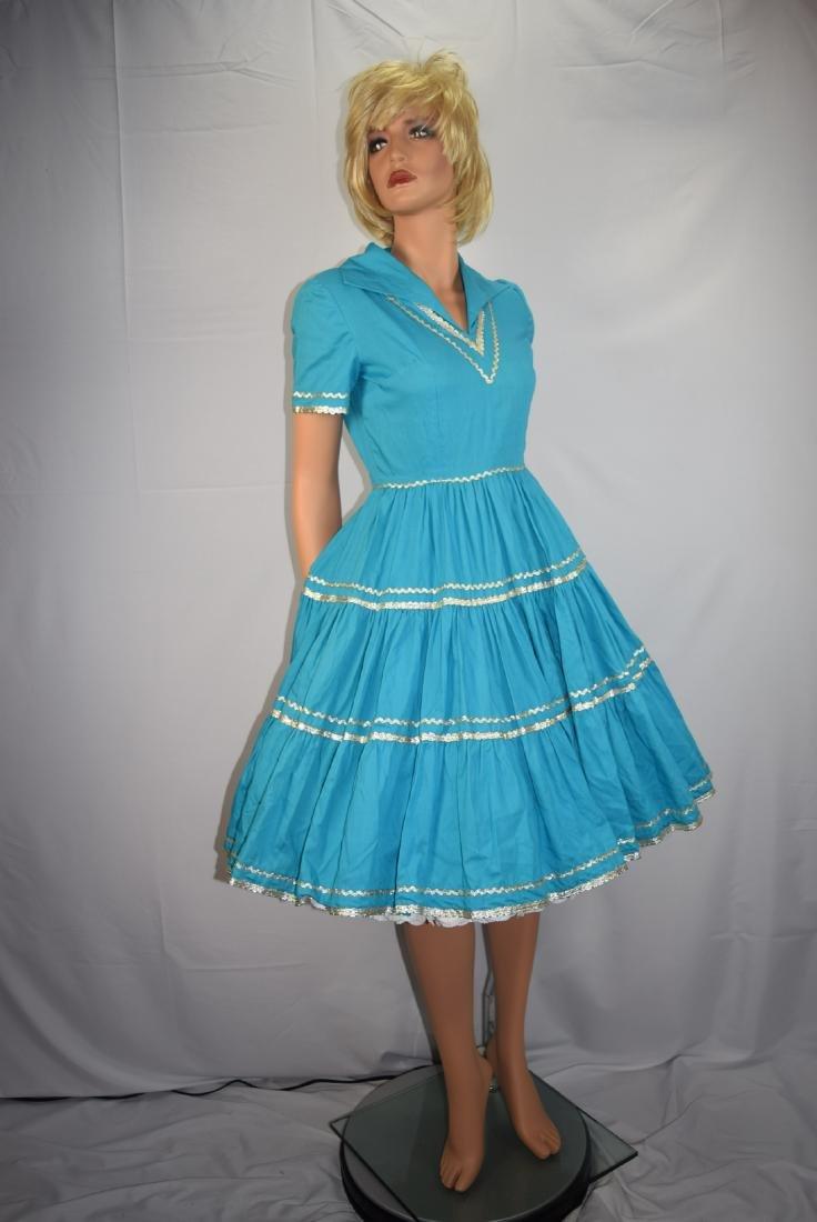 Vintage 50's Blue Rockabilly Fiesta Patio Squaw Dress - 2