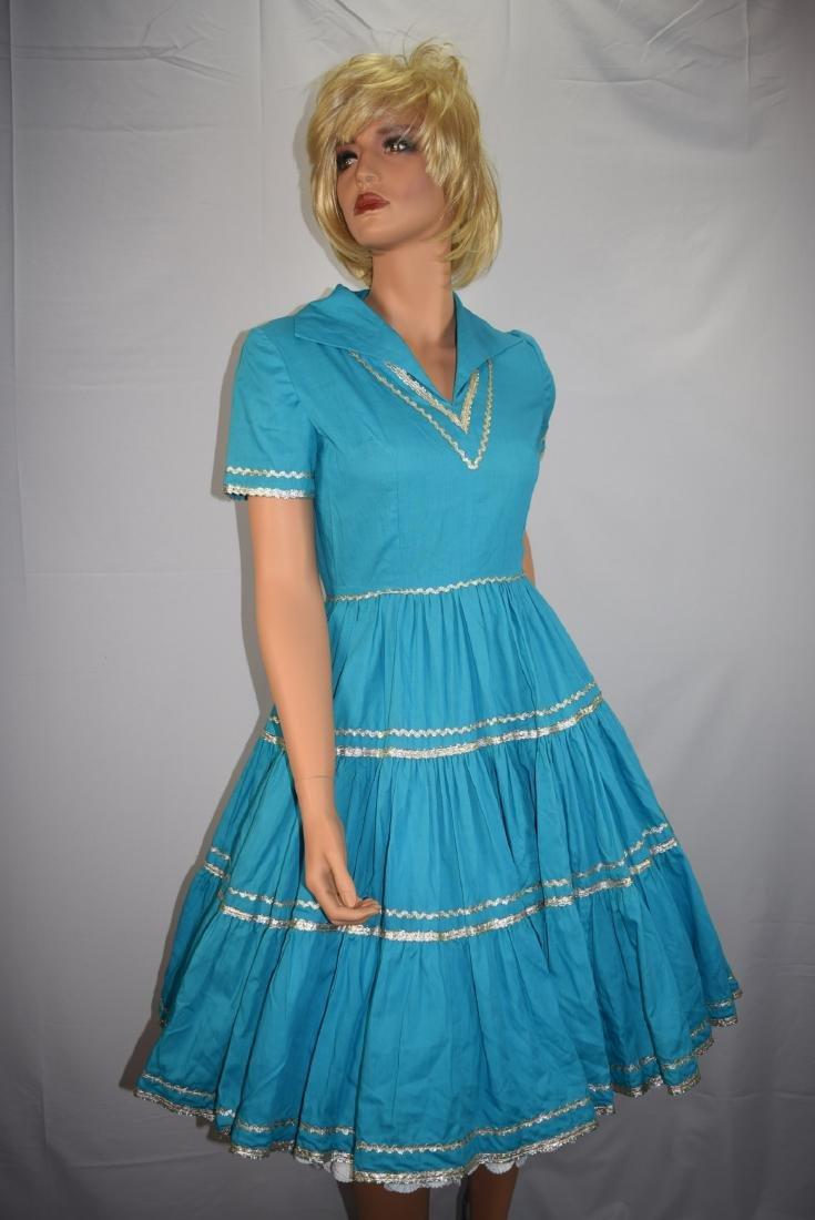 Vintage 50's Blue Rockabilly Fiesta Patio Squaw Dress - 3