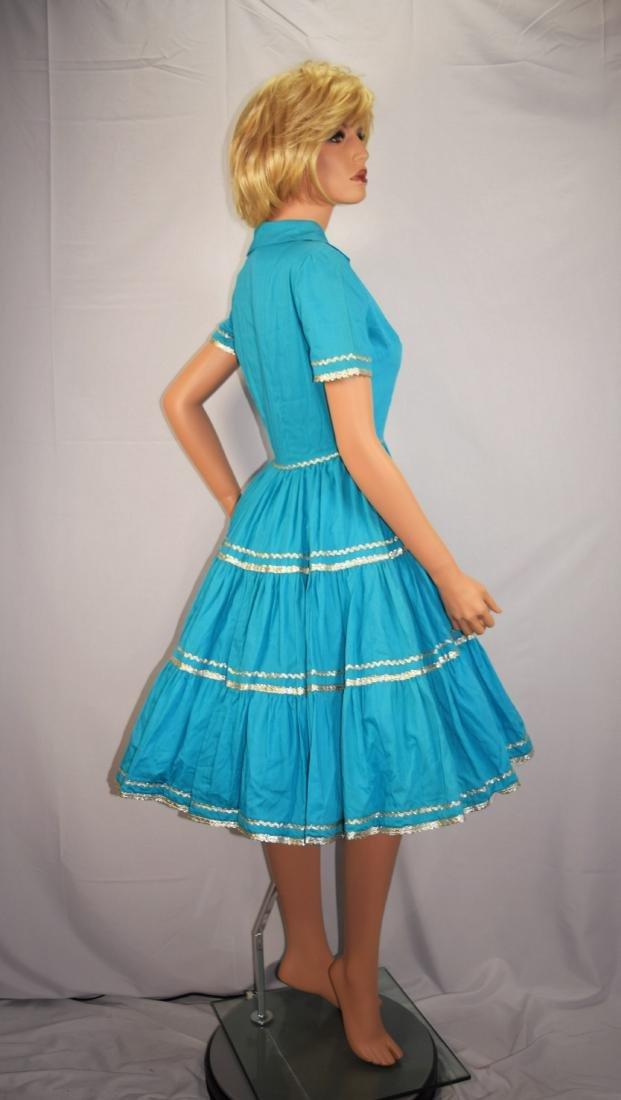 Vintage 50's Blue Rockabilly Fiesta Patio Squaw Dress - 4