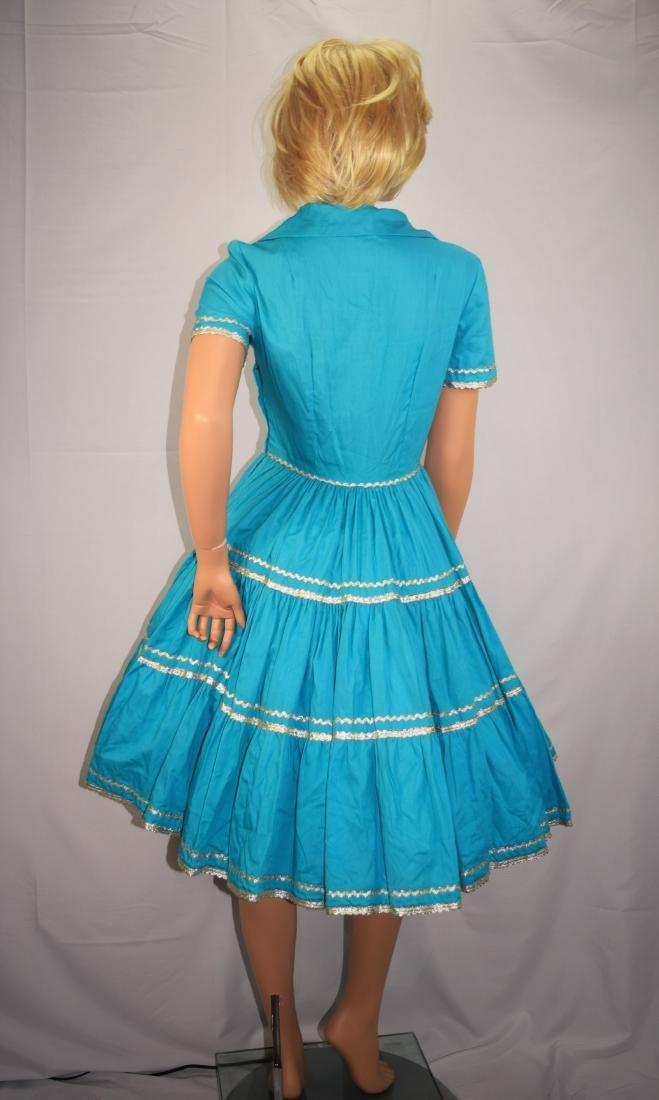 Vintage 50's Blue Rockabilly Fiesta Patio Squaw Dress - 5