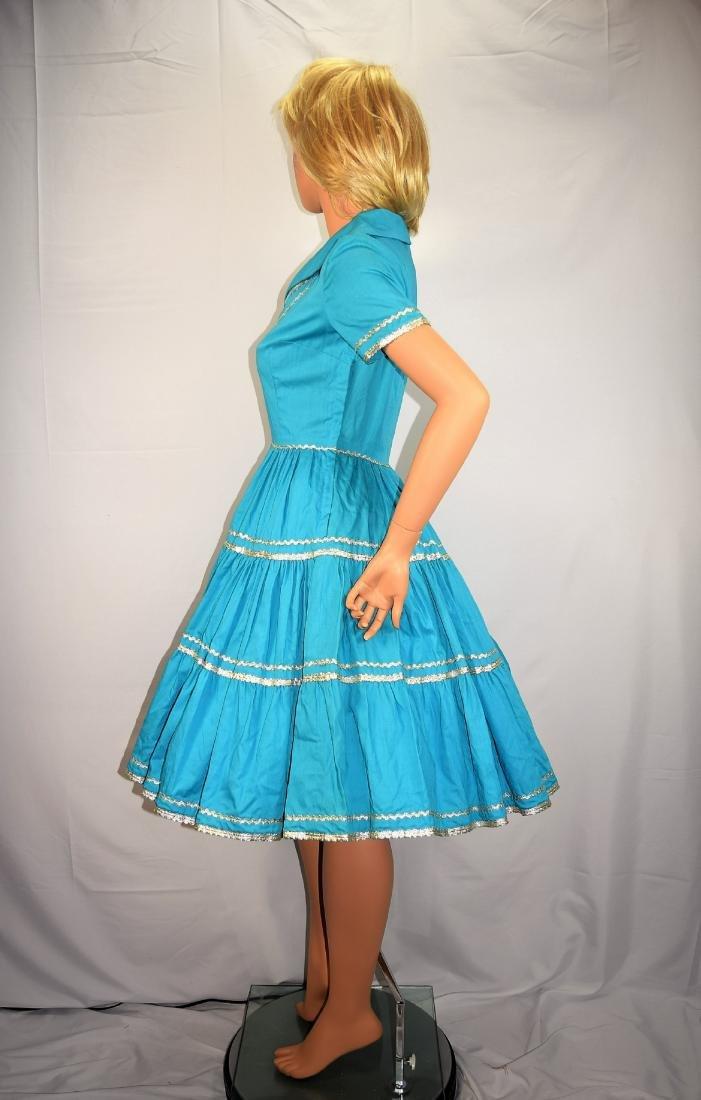 Vintage 50's Blue Rockabilly Fiesta Patio Squaw Dress - 6