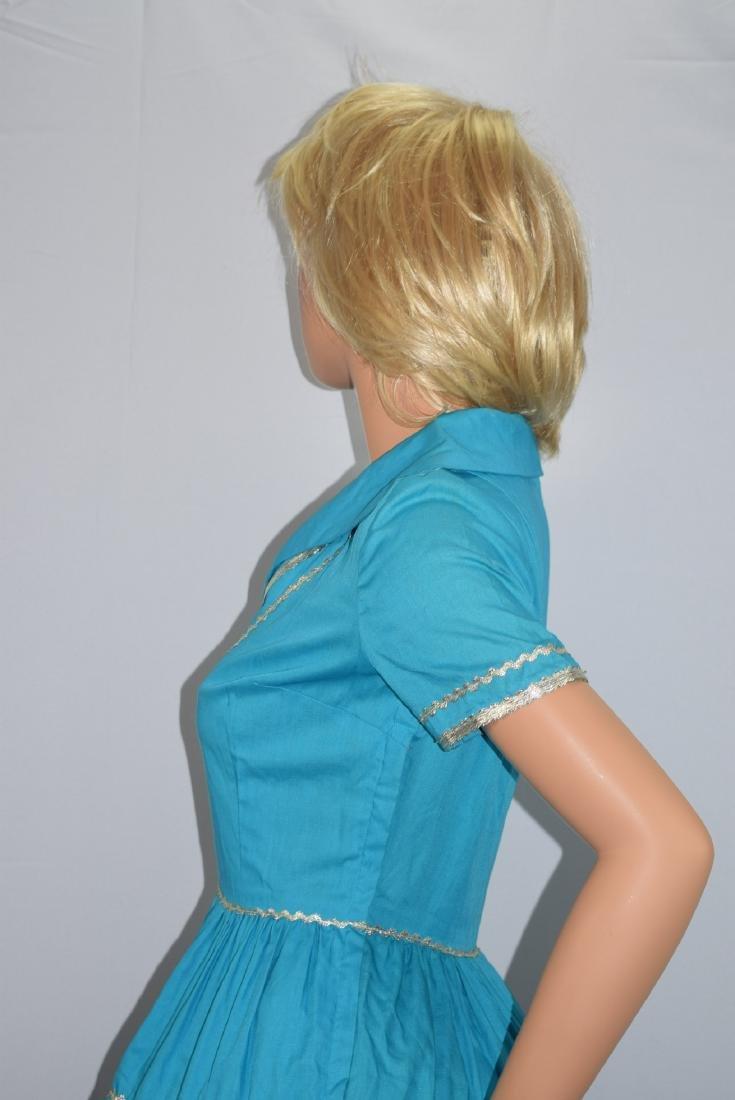 Vintage 50's Blue Rockabilly Fiesta Patio Squaw Dress - 7