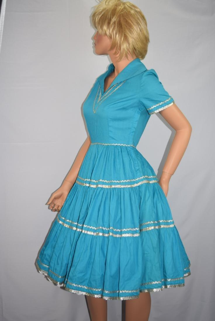 Vintage 50's Blue Rockabilly Fiesta Patio Squaw Dress - 8