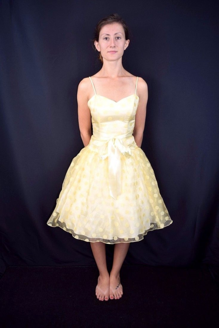 Vintage Strapless Yellow Party Dress by Roberta Size S