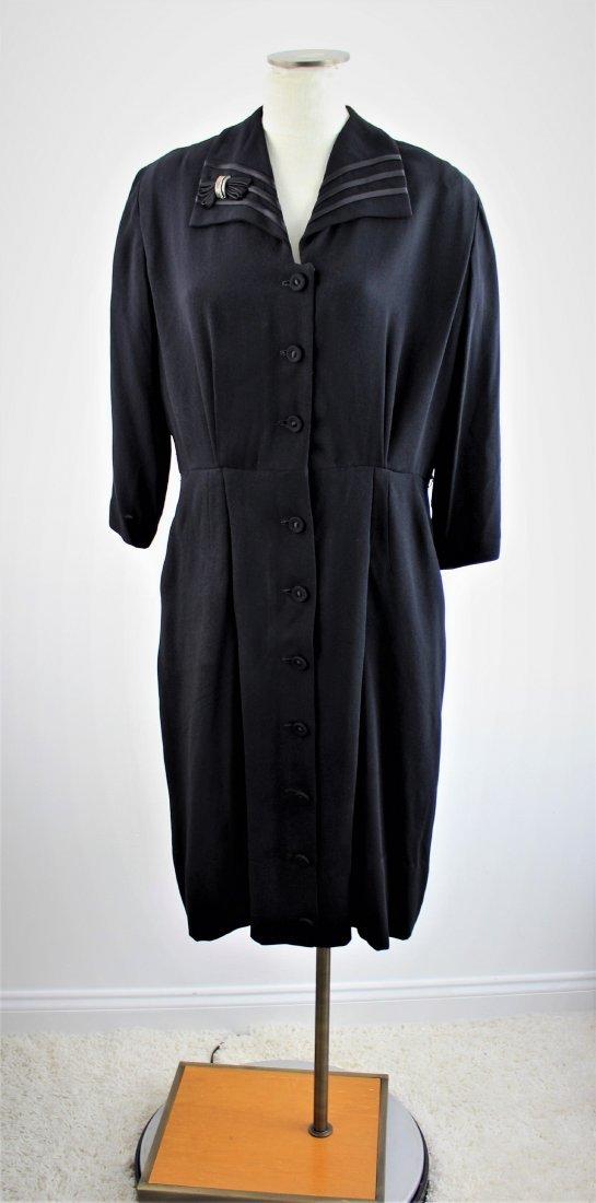 Vintage 50's Black Dress by Mize Mode Size L/XL