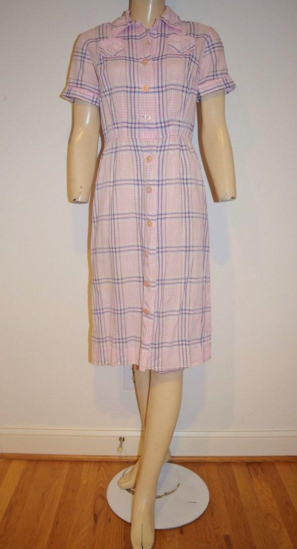 Vintage 50's Pink Plaid Pencil Dress Size S/M