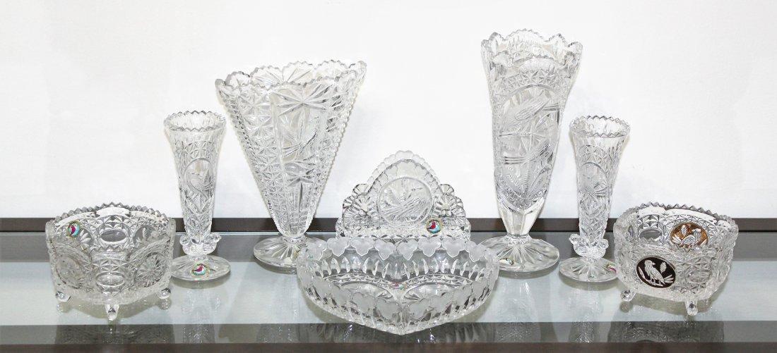 Hofbauer The Byrdes Clear Crystal Vase & Bowl Lot