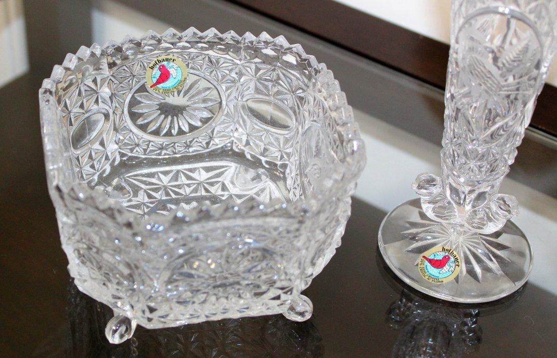 Hofbauer The Byrdes Clear Crystal Vase & Bowl Lot - 4