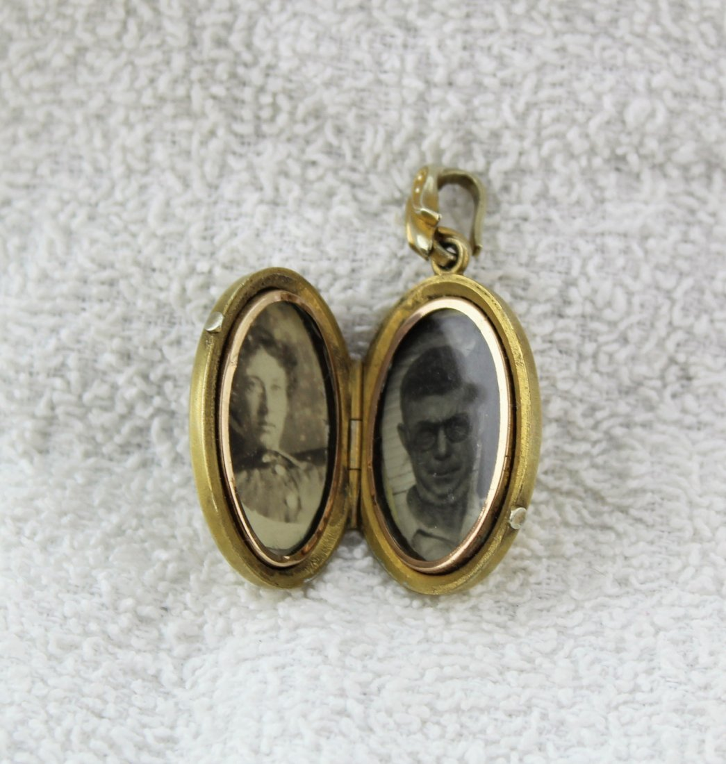 Antique Victorian Gold Gilt Fill Locket Pendant - 2