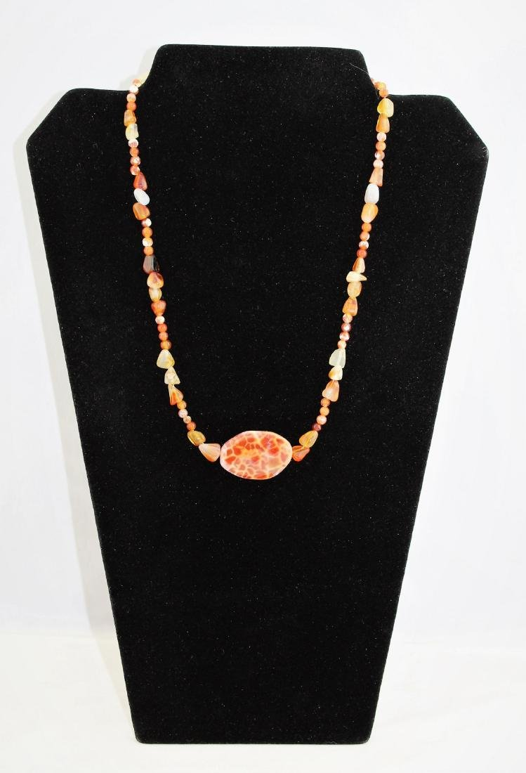 Orange Jasper Jade & Quartz Bead Pendant Necklace