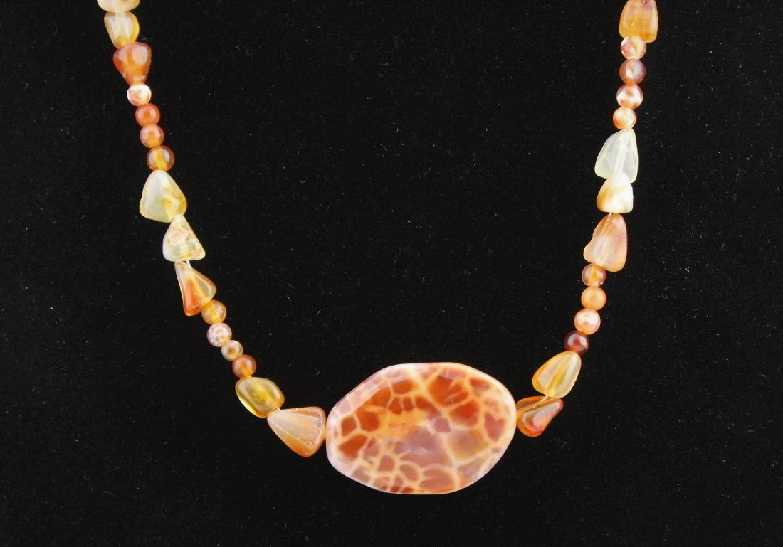 Orange Jasper Jade & Quartz Bead Pendant Necklace - 2