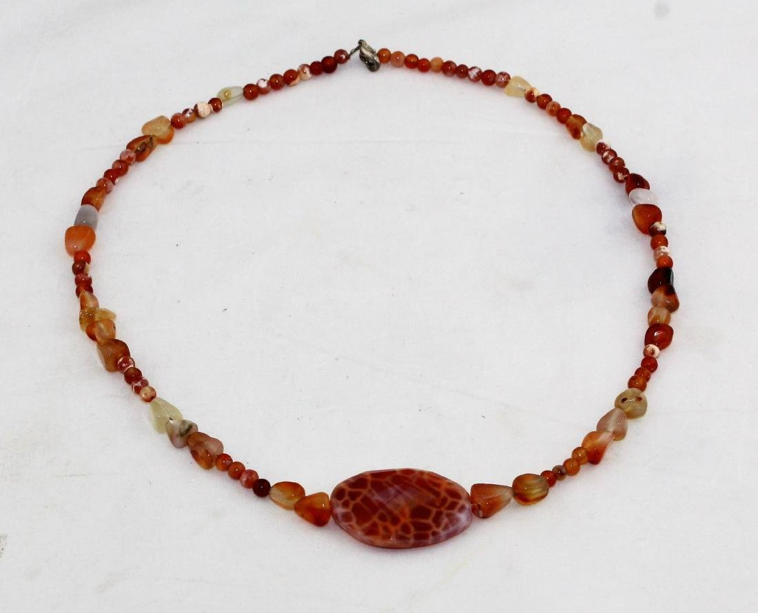 Orange Jasper Jade & Quartz Bead Pendant Necklace - 4