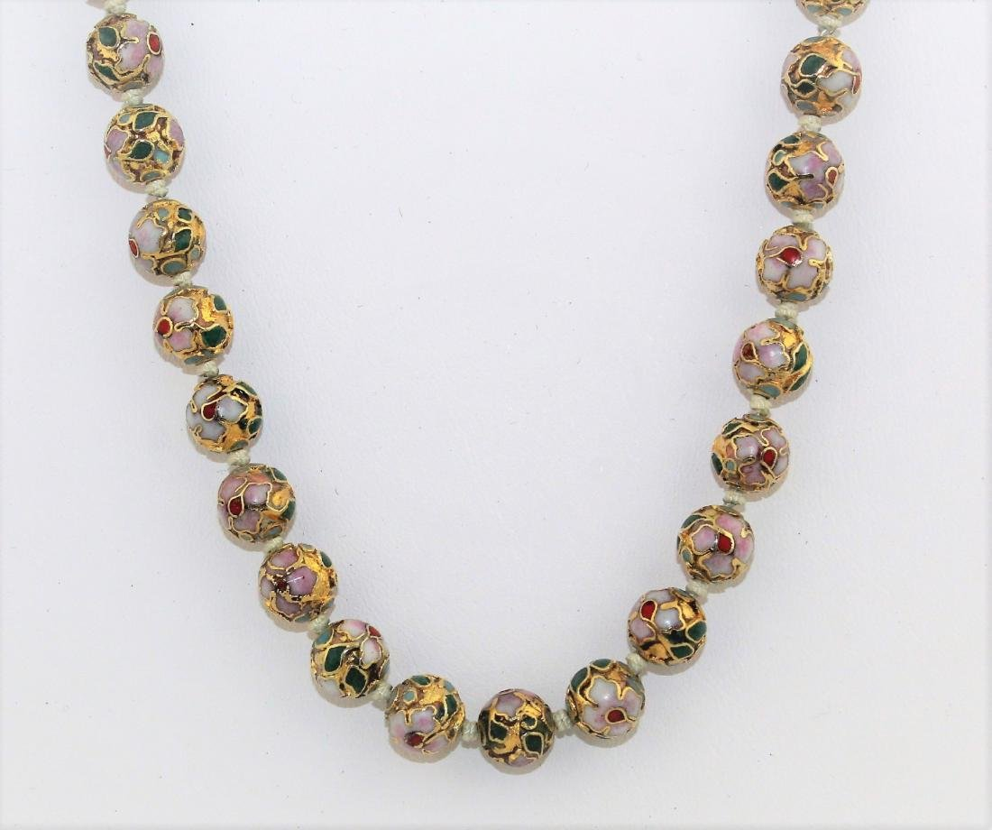 """27"""" Enamel With Gold Overlay Chinese Cloisonne Necklace"""
