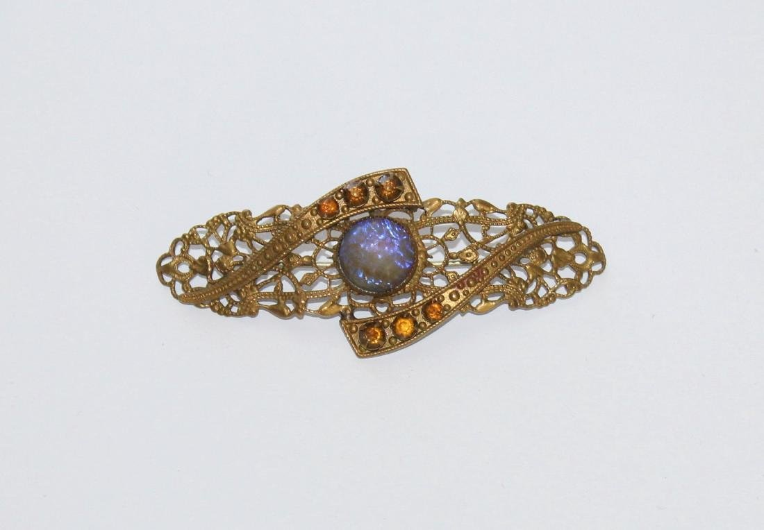 Victorian Rhinestone Gold Gilt Filigree Brooch Pin