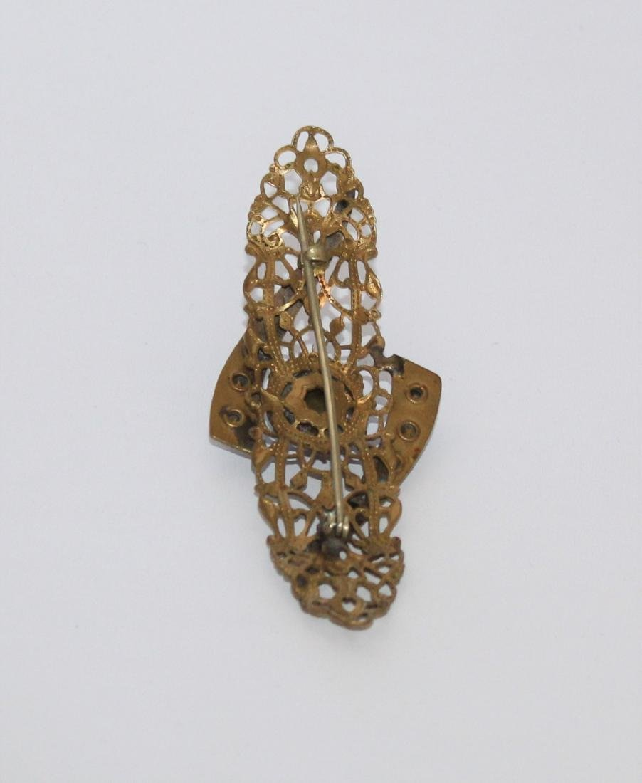 Victorian Rhinestone Gold Gilt Filigree Brooch Pin - 3