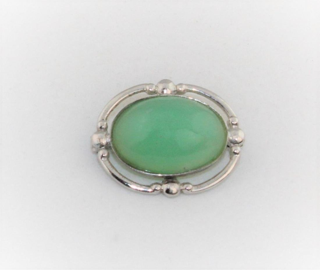Sterling Silver Green Chrysoprase Cabochon Pin
