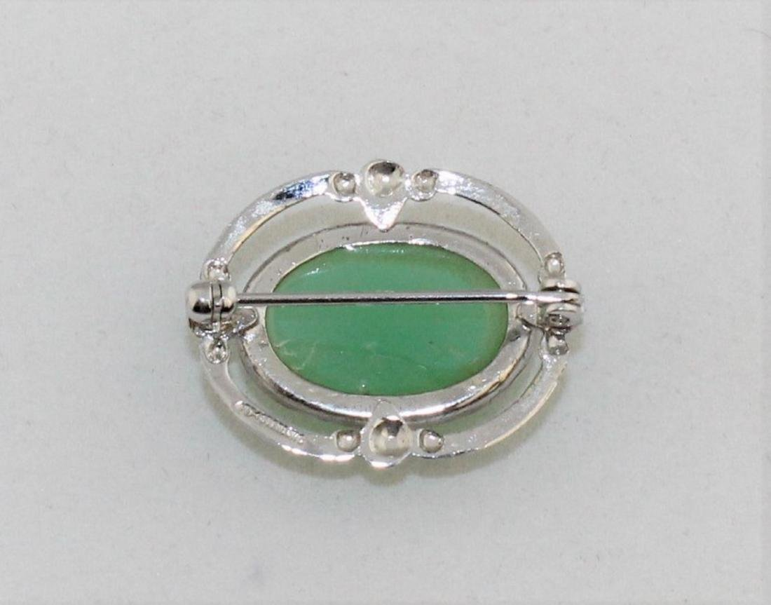 Sterling Silver Green Chrysoprase Cabochon Pin - 2