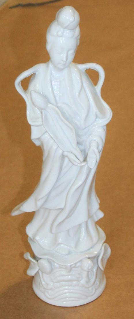 Japanese Geisha White Porcelain Statue