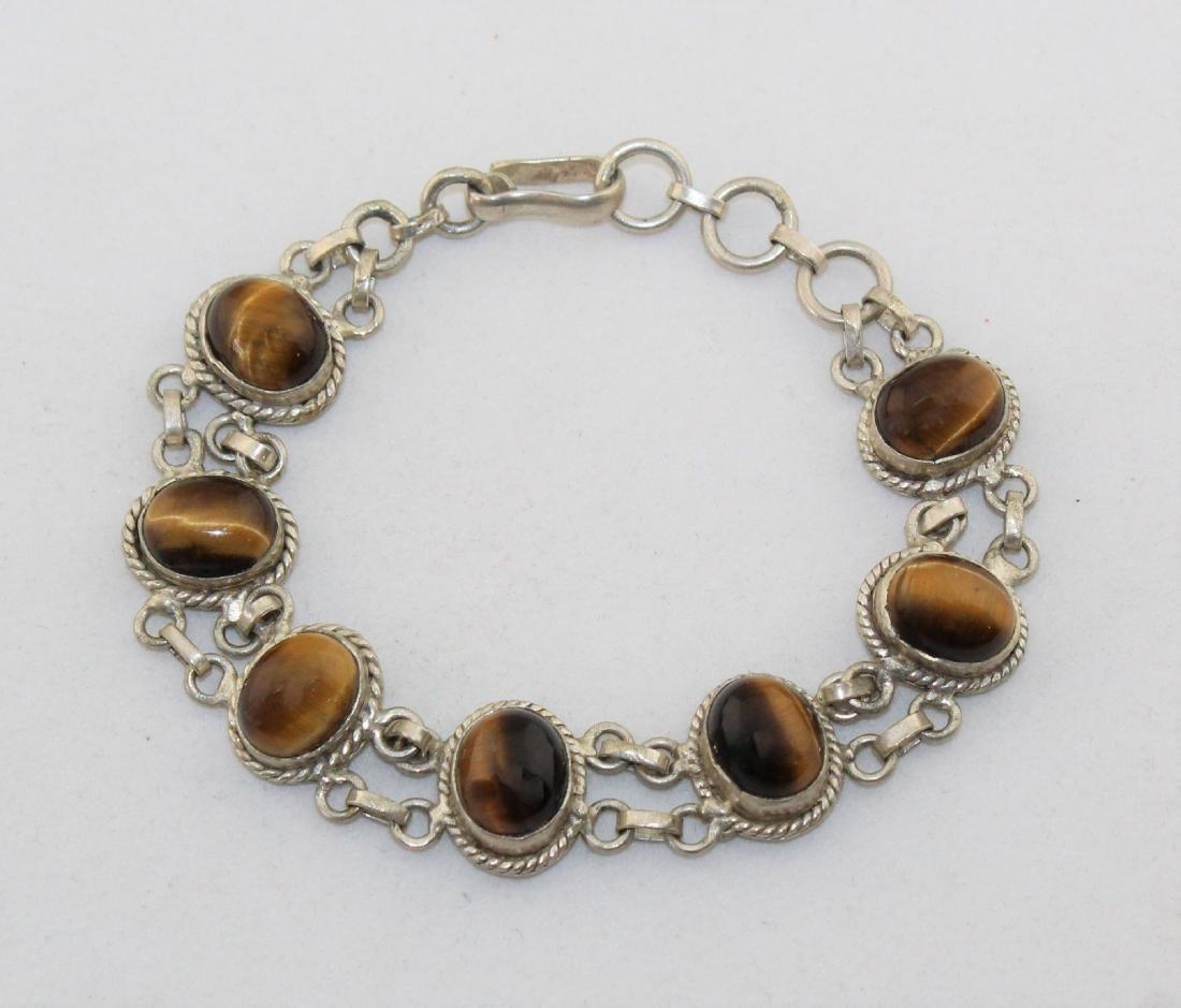 Tiger's Eye Silver Link Bracelet
