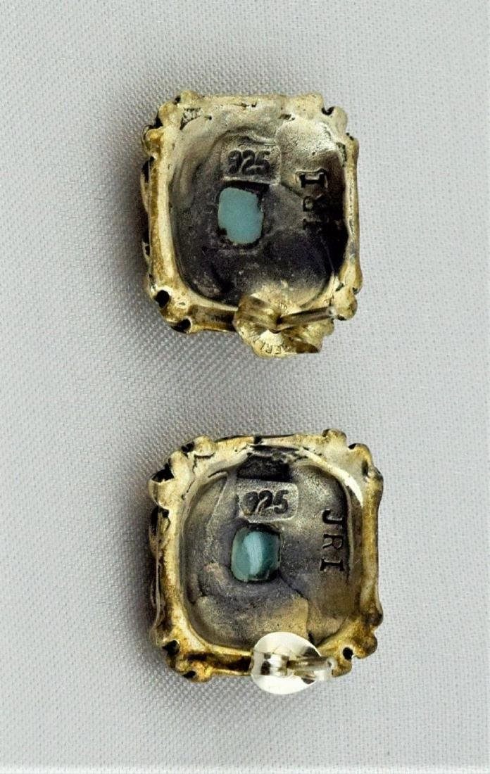Native American Sterling Silver Turquoise Earrings - 4