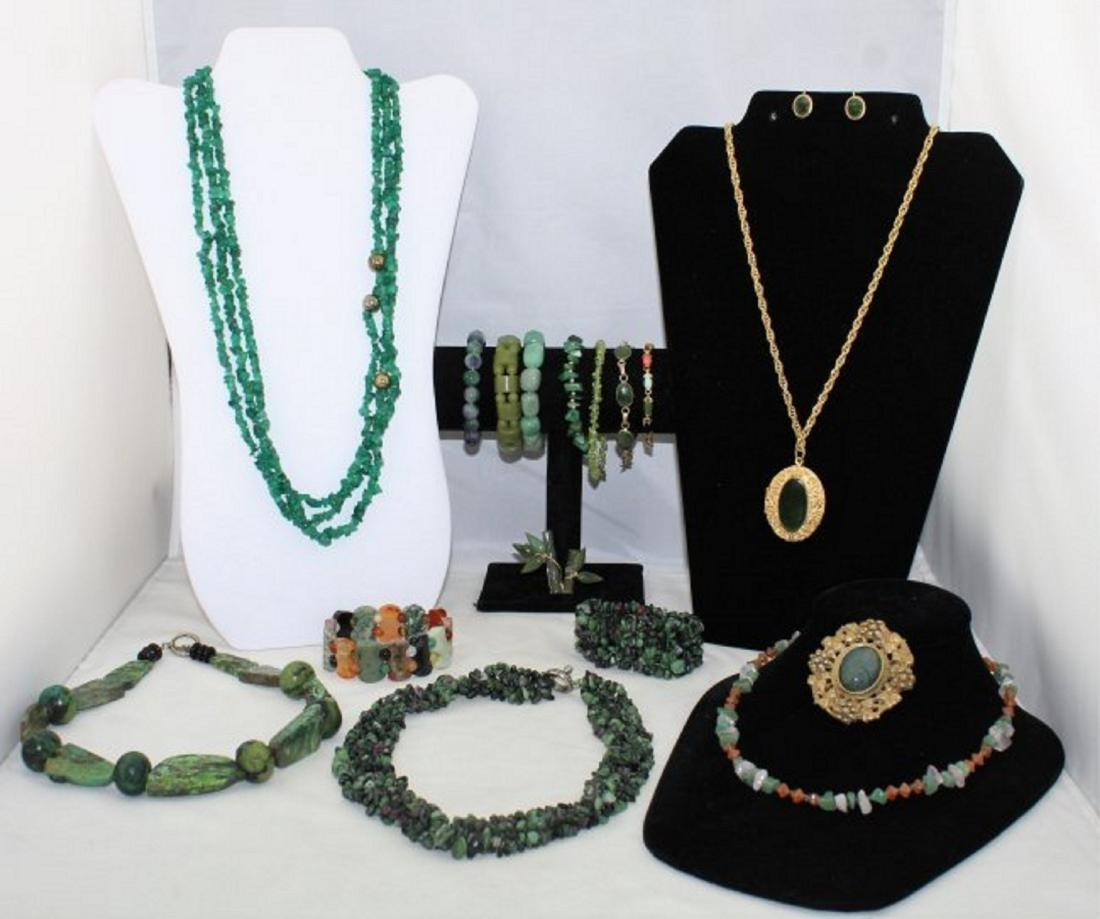 Jade Emerald Chrysoprase Aventurine Jewelry Lot