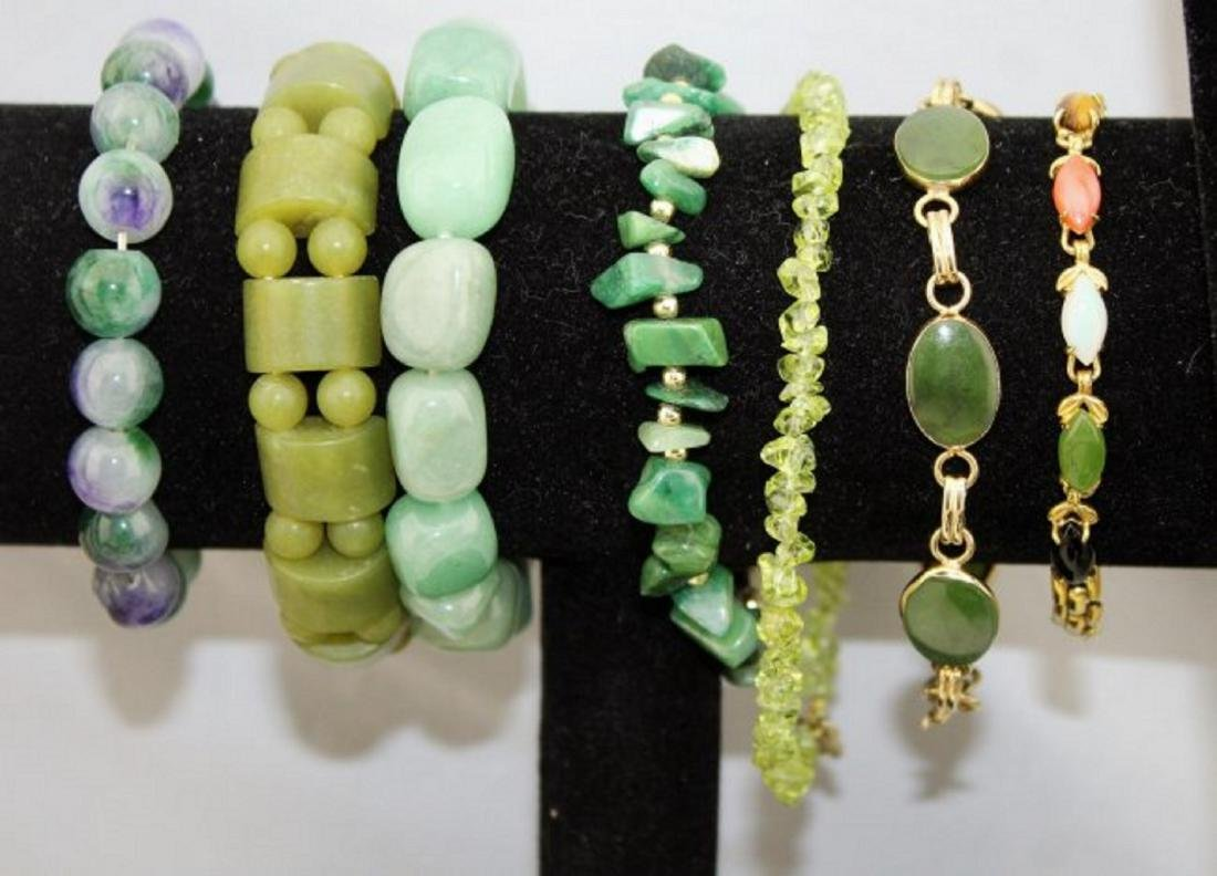 Jade Emerald Chrysoprase Aventurine Jewelry Lot - 2