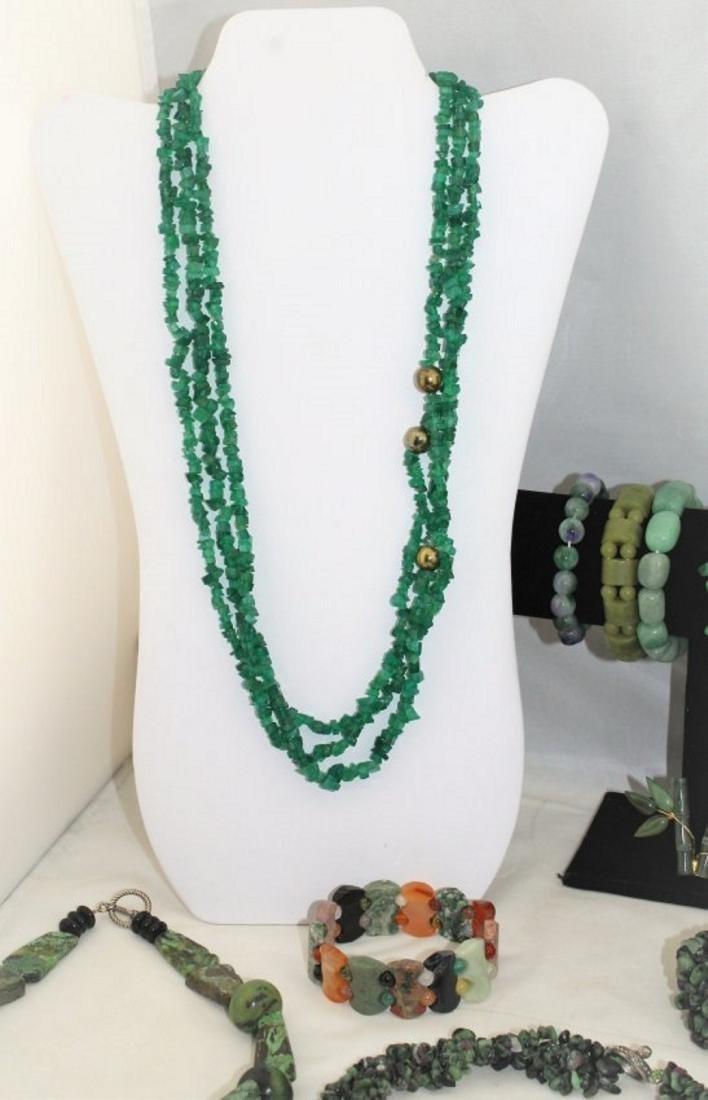 Jade Emerald Chrysoprase Aventurine Jewelry Lot - 5