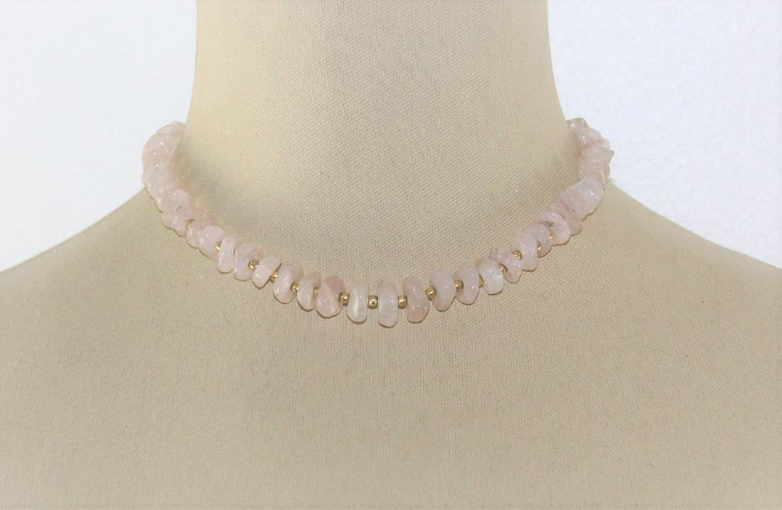 Icy Pink Jade Nugget Chip Choker Necklace