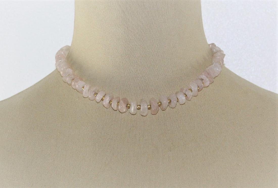 Icy Pink Jade Nugget Chip Choker Necklace - 2
