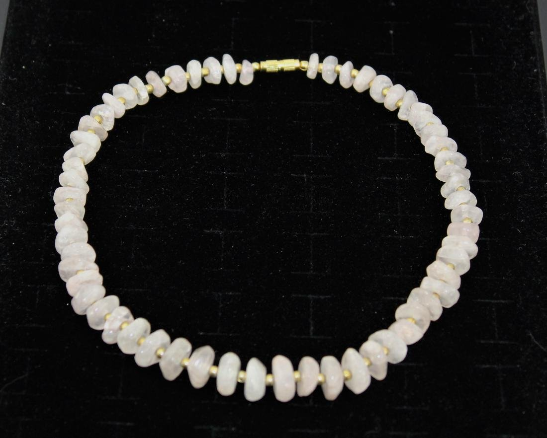 Icy Pink Jade Nugget Chip Choker Necklace - 4
