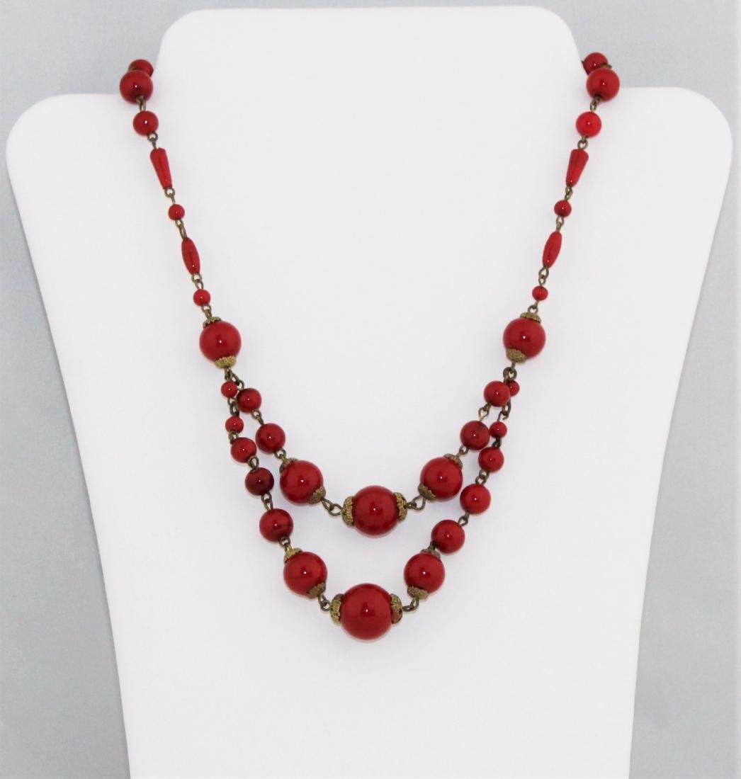 Vintage 1930's Czech Red Glass Bead Choker Necklace