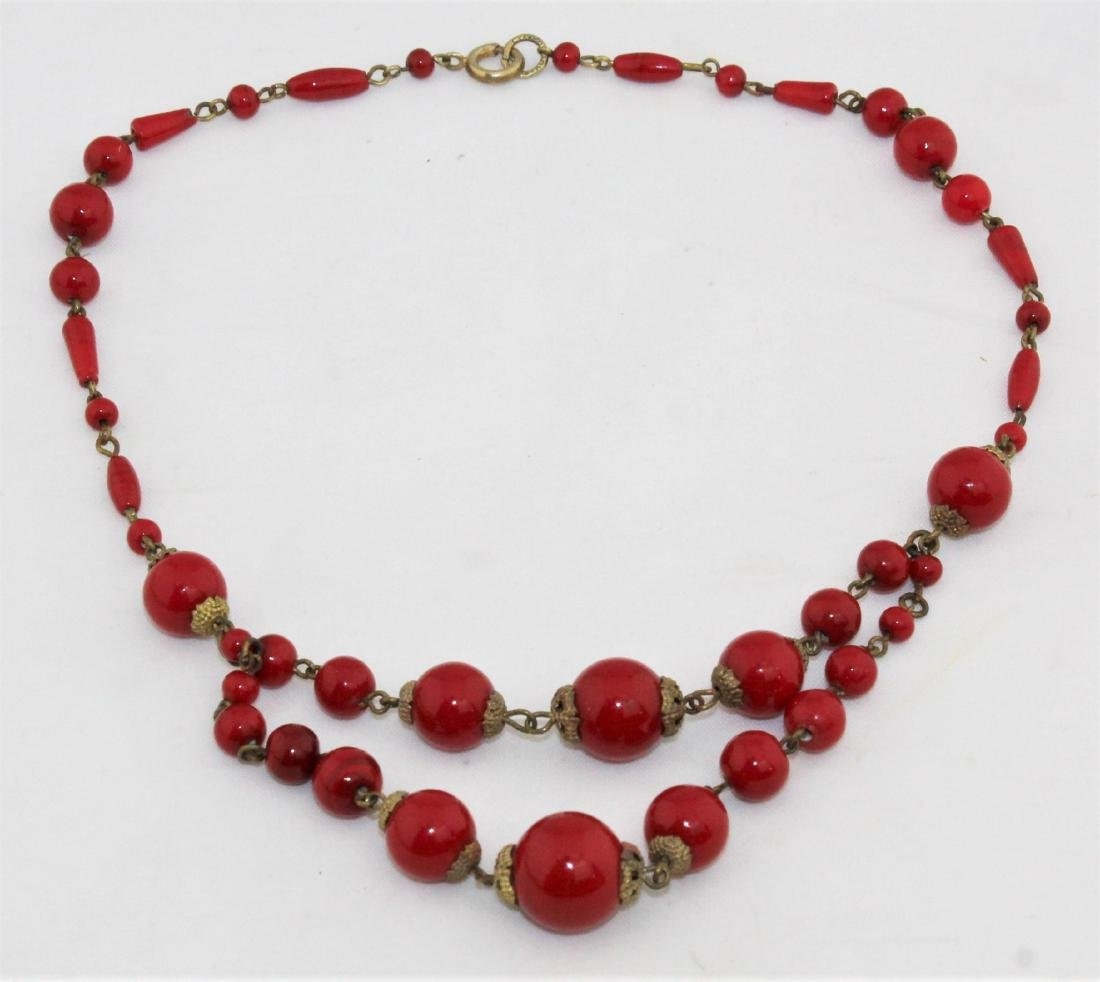 Vintage 1930's Czech Red Glass Bead Choker Necklace - 2