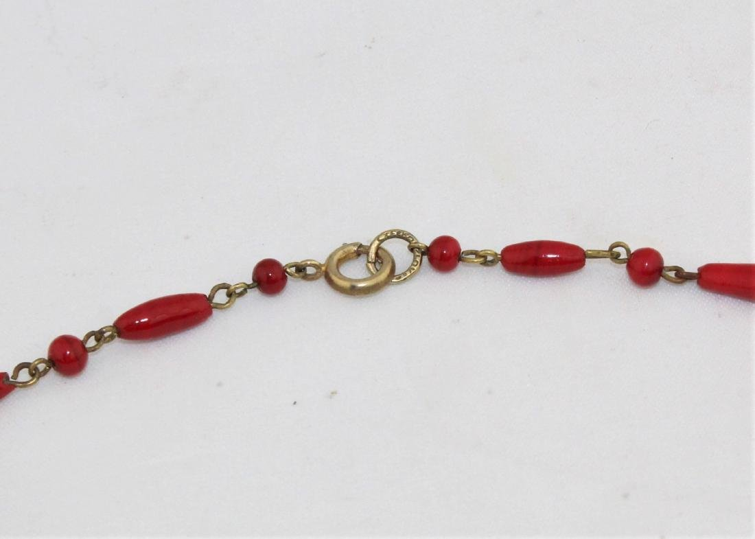 Vintage 1930's Czech Red Glass Bead Choker Necklace - 3