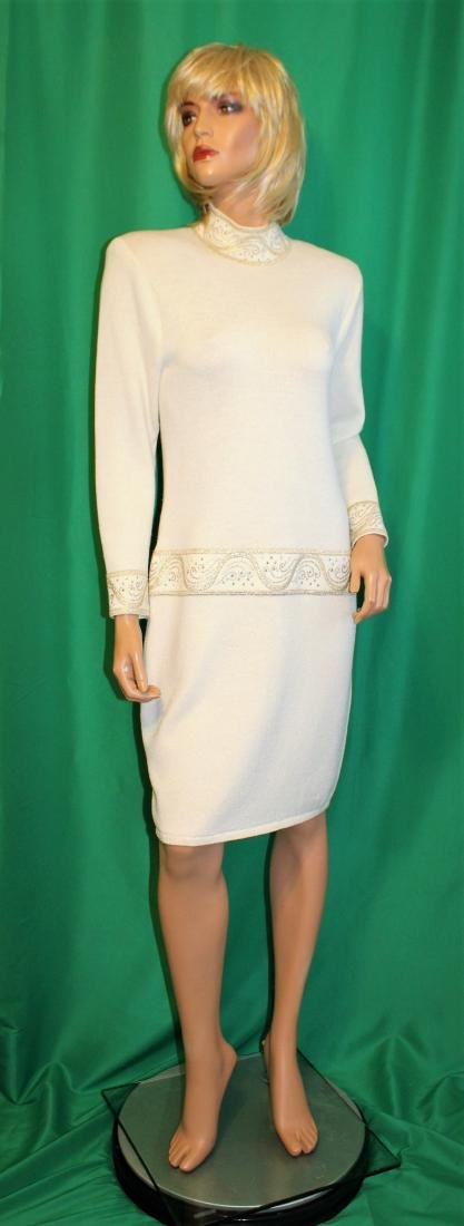 St John for Saks 5th Ave Ivory Santana Knit Dress