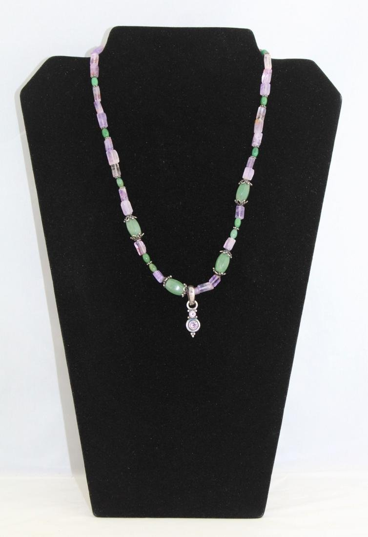 Amethyst and Green Jade Bead Sterling Silver Necklace