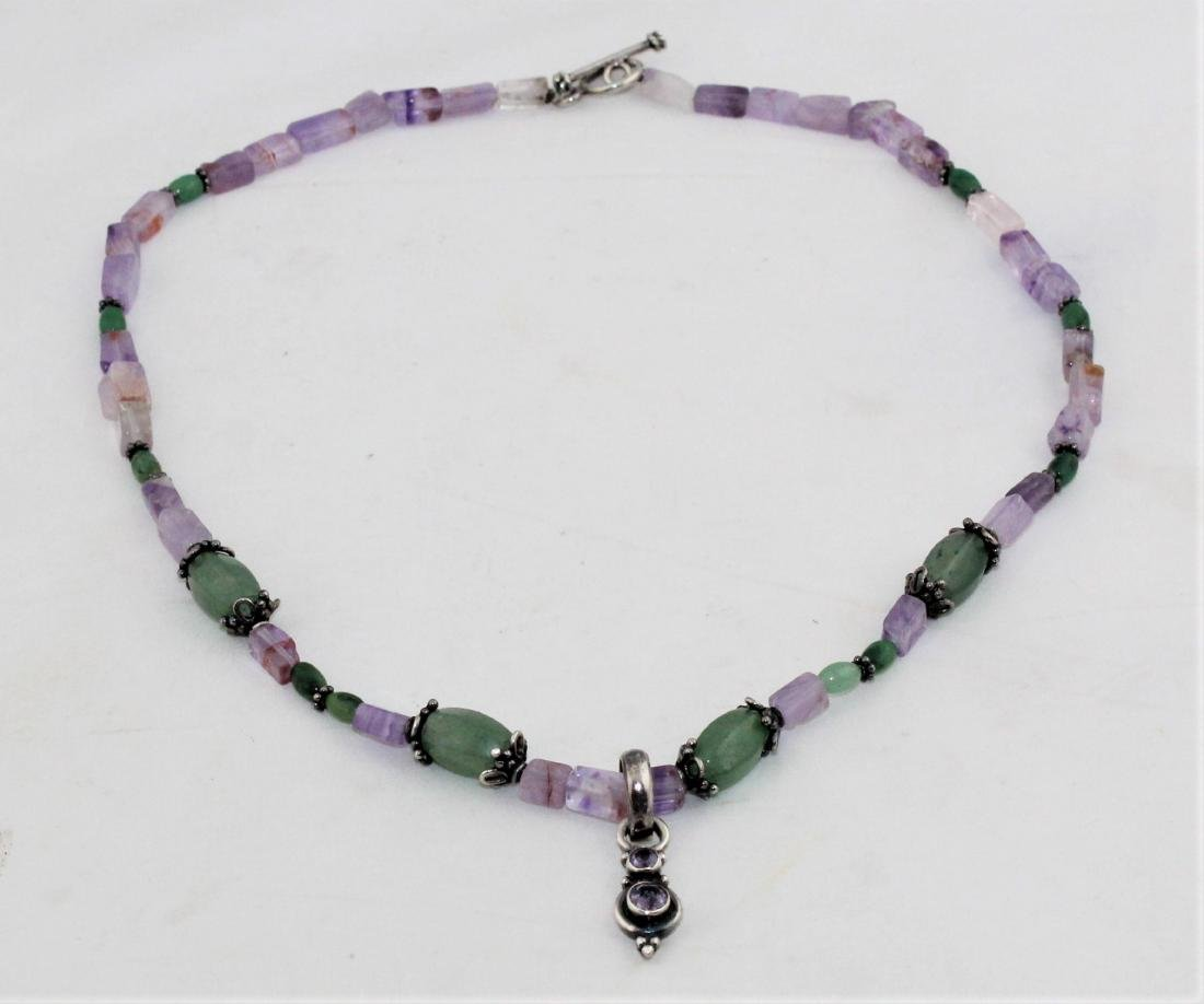 Amethyst and Green Jade Bead Sterling Silver Necklace - 2