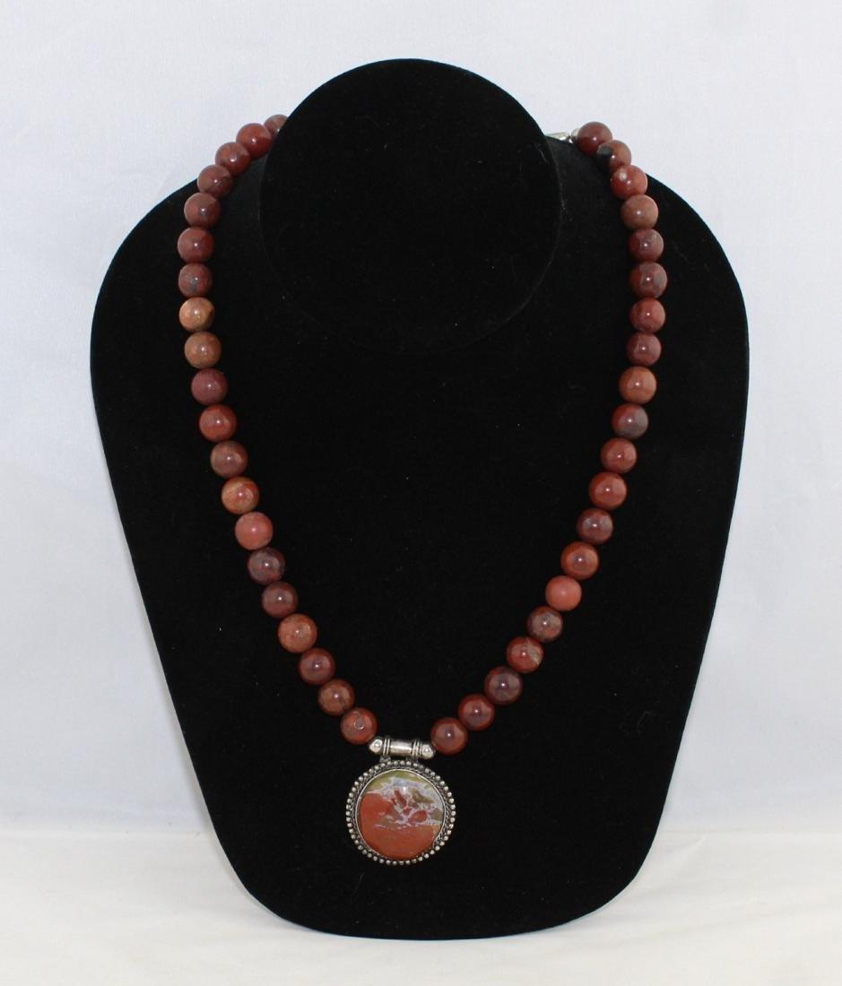 Red Orange Jade Bead Necklace Quartz Medallion