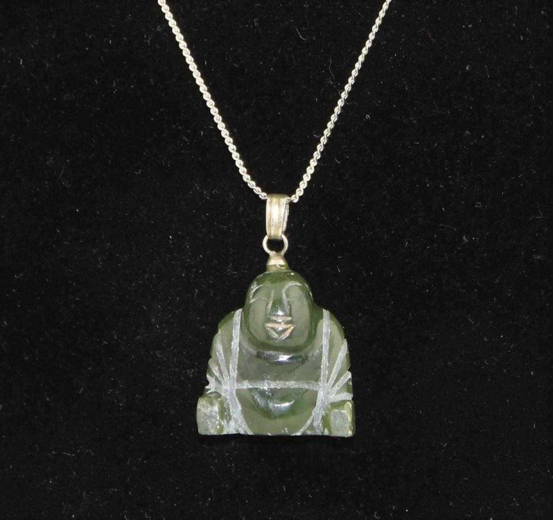 Carved Green Jade Nephrite Buddha Pendant Necklace