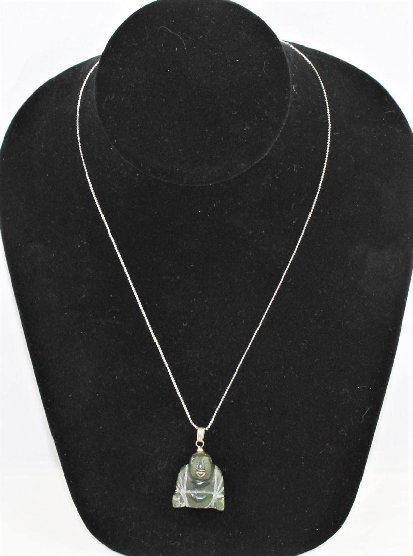 Carved Green Jade Nephrite Buddha Pendant Necklace - 2