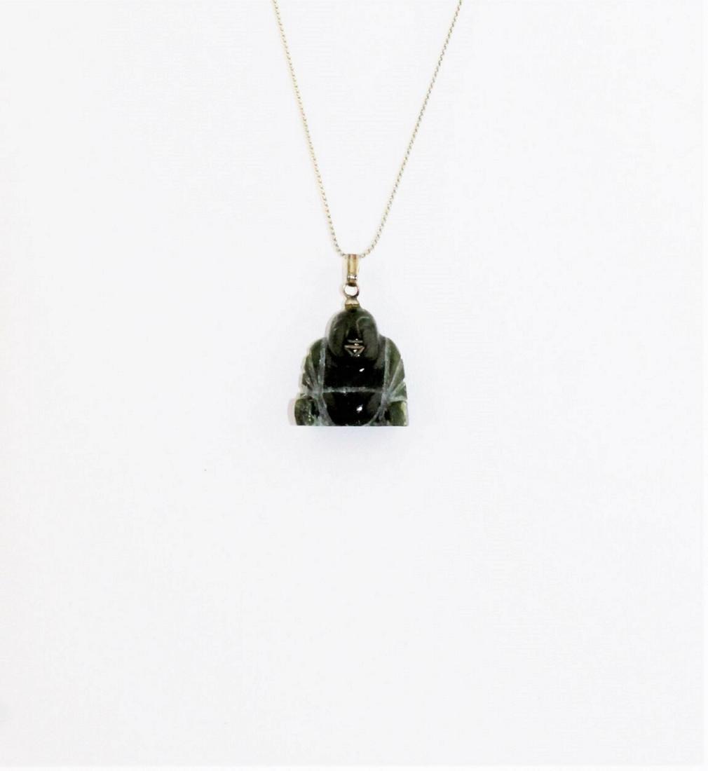 Carved Green Jade Nephrite Buddha Pendant Necklace - 3