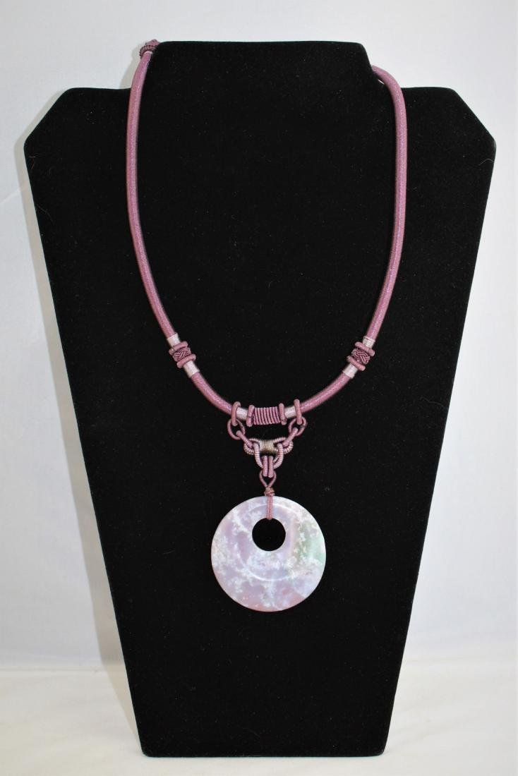 Carved Lavender Jade Medallion on Cord Necklace